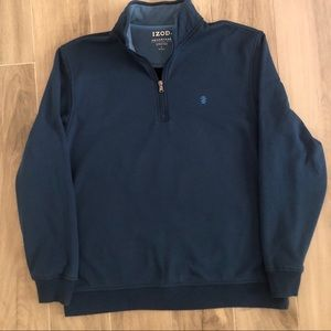 IZOD 1/4 Zip Blue Performance Pullover Size Large